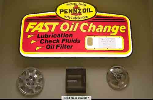 Oil changes in the men's room?  Why not?