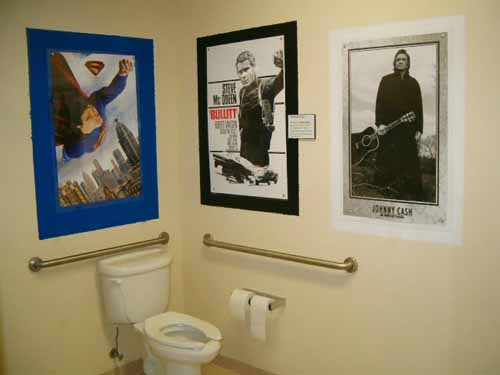 At least they didn't put photos of Jesus right next to the toilet.